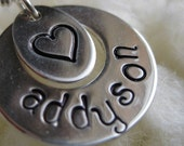 Name and Accent hand stamped charm necklace
