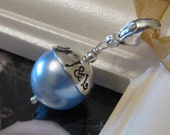 SOMETHING BLUE- Custom Hand stamped wedding bouquet charm with lobster clasp