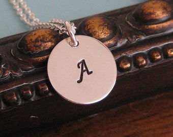 Initial Disc In Sterling single tag necklace