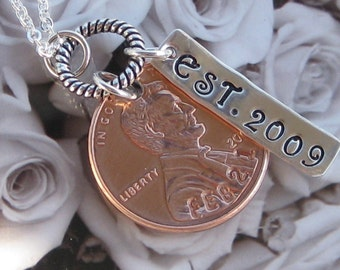 Custom Wedding Penny necklace 2017 US penny or earlier year