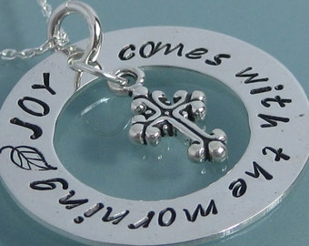 JOY Comes With The Morning  stamped pendant necklace