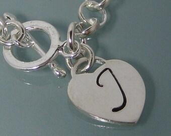 Sterling Silver large heart charm bracelet