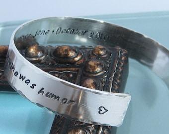 Sterling Silver Handstamped Cuff Bracelet- 7/16 inch width, stamped on both sides