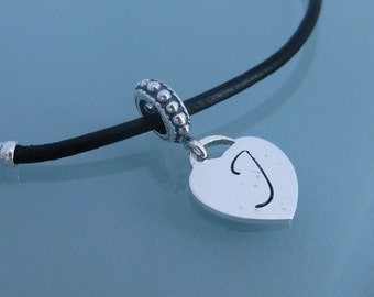 TheTiffany heart Initial European style large hole bead CHARM ONLY- For Add-a-bead bracelet- LIMITED edition