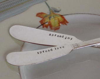 Say Cheese - Vintage Upcycled - Set of 2 - Personalized Silverplated Hand Stamped Cheese or H'ordeuvre Spreader