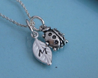 My Little Lady Bug with sterling leaf initial tag -  Mother's necklace