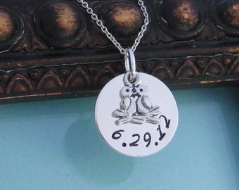 LOVE BIRDS- Custom Hand stamped wedding pendant and bouquet charm all sterling silver chain included