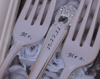 Vintage Upcycled Mr & Mrs Wedding/Anniversary Silverplate Handstamped Cake Fork Set With KEYCHAIN- ETERNALLY YOURS pattern
