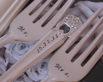Vintage Upcycled Bride and Groom, Mr/Mrs, etc Wedding or Anniversary Silverplated Hand Stamped Cake Dessert Fork Set ETERNALLY YOURS Pattern
