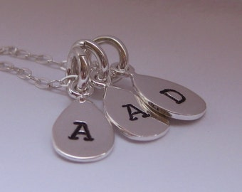 3 Small Initial Tag Hand Stamped Mother's Necklace