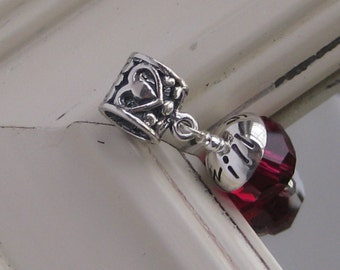Hearts- sterling silver large hole charm with CUSTOM stamped cap for Add a Bead bracelets - European, Large Hole Charm