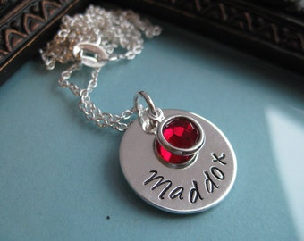 Sterling Silver hand stamped layered mother's necklace- Name and Birthstone