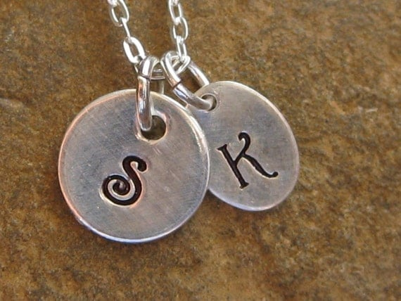 2 Tiny Initial Tag Hand Stamped Mother's Necklace