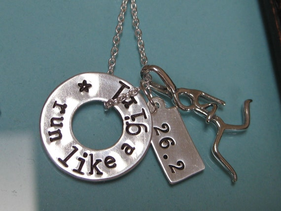 Run Like a Girl - Marathon Runners Hand Stamped Necklace