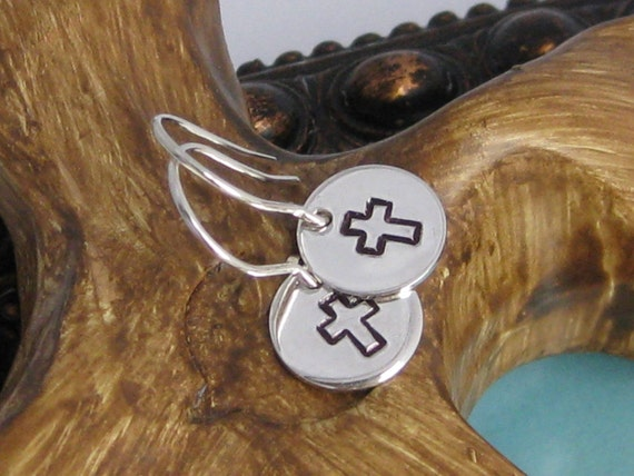 Simple Silver Stamped Earrings- Round