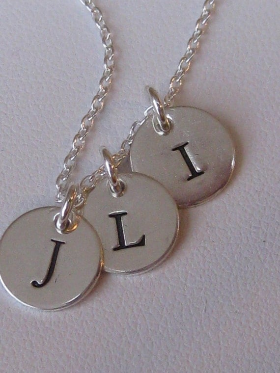 3 Tiny Initial Tag Hand Stamped Mother's Necklace