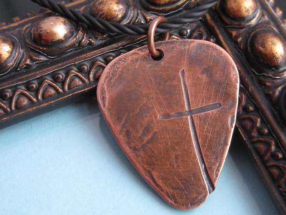 Ol' Rugged Cross Heavy COPPER or BRONZE Guitar Pick Style with Men's Necklace-Cross ONLY with cord, no personalization on front or back