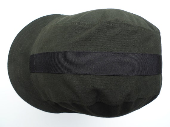 Brushed Twill Cycling Cap - Dark Green and Black