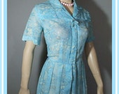 Vintage 50s Dress / Sheer Blue Floral Print / M