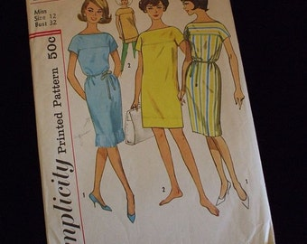 Vintage 60s Simplicity Dress or Beach Coverup 4514 Bust 32