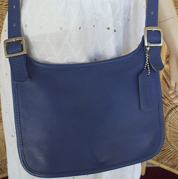Royal Blue Vintage COACH Leather Purse Handbag Cross Body