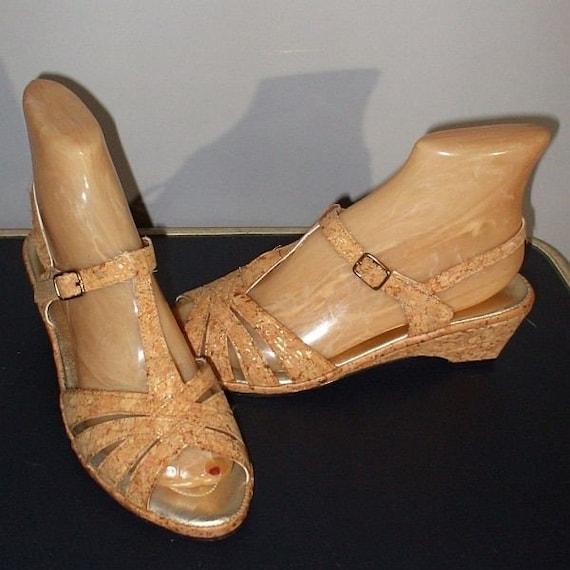 vintage 70s cork wedge sandals shoes t straps