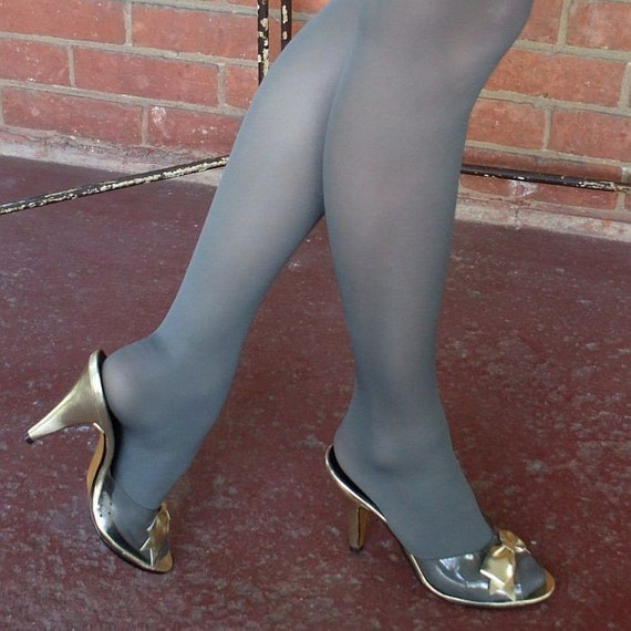 Vintage 70's  High Heel Shoes / Metallic Gold Bows / Clear Vamp