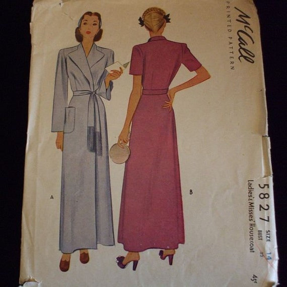 RESERVED Vintage 40s McCall Housecoat Robe Pattern 5827 Bust 32