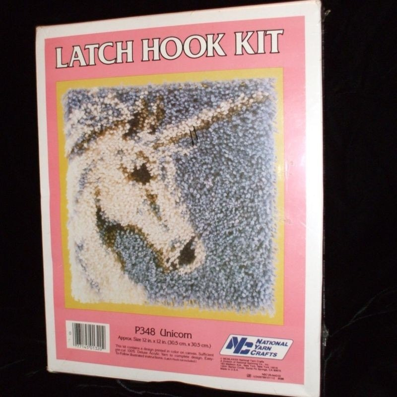 Vintage Unicorn Latch Hook Yarn Kit New In Box 12 In X 12 In