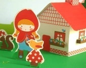 Little red ridding hood. Paper House Set. PDF
