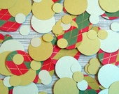 Confetti 1/2 to 2 inch circles in red green and gold Holiday Argyle - Lot of 75