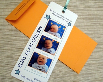 Birth Announcement - Photo Booth Film Strip Bookmark with Ribbon - DESIGN FEE