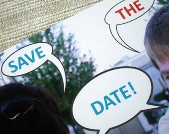 Speech Bubble Custom Photo Wedding Save the Date Postcard - DESIGN FEE