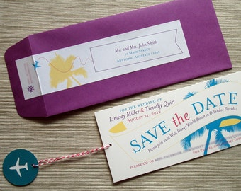 Destination Wedding Save the Date Airplane Message Banner Tropical Palm Tree - SAMPLE