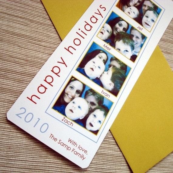 photo christmas card photo booth film stripcolorbirdstudio
