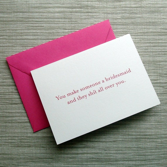 Will you be my Bridesmaid Cards (Not Your Average, from The Chick Flick Notes) - SET of 2