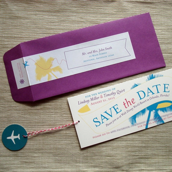 Destination Wedding Save the Date Retro Airplane Message Banner Tropical Beach Palm Tree - DESIGN FEE