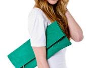 Kelly green leather portfolio clutch