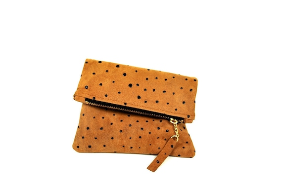 Leather mini fold clutch in tan ostrich Ready to Ship