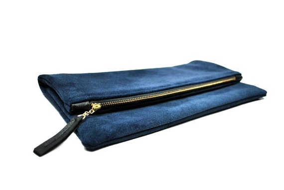 LAST ONE Oversized leather fold clutch in navy blue with black detailing