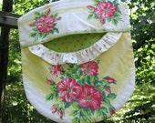 TReaSuRY iTeM - Repurposed Vintage Tablecloth Clothes Pin Bag - Wood Hanger - Pink Yellow Green