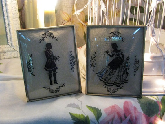 Pair Framed Silhouettes under Curved Glass - Shabby Romantic Cottage