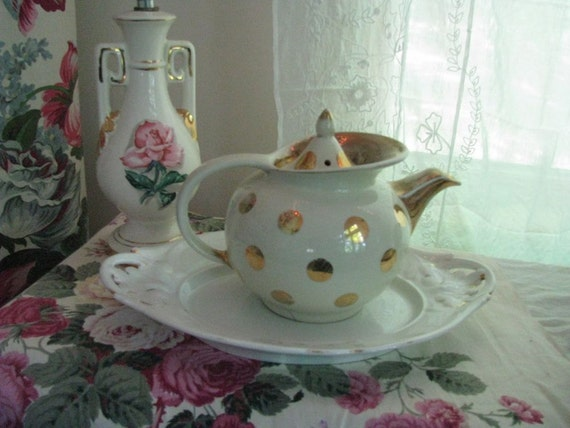 Treasury Item - Hall Windshield Teapot with Gold Dots - Shabby Cottage Chic