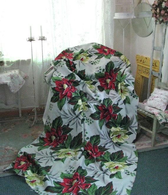 Vintage Barkcloth Fabric Grey Chartreuse Red Green Floral Magnolia Drape Panel