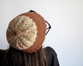 Brown knit hat - Cotton women's knit hat - Mocha Latte Cupcake