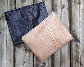 Faye Zip clutch in reclaimed leather