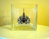 Square Crystal Encrusted Chandelier vase, Candle holder, Candy Dish or centerpiece
