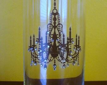 Crystal encrusted Chandelier Vase, candle holder or centerpiece