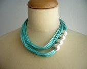 Aqua Satin and pearls necklace