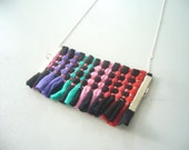 Braided tribal necklace in black, green, red, pink and blue SALE
